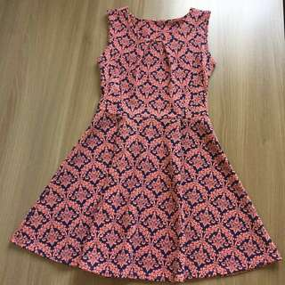 Printed dress (navy blue and pink)