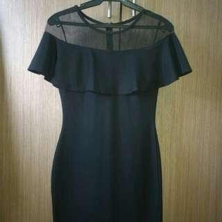 Bodycon Black Off shoulder mesh dress