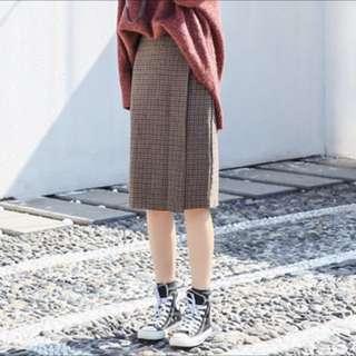 🇰🇷韓國呢料格仔中長款半身高腰短裙