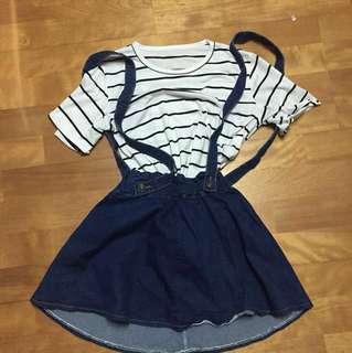 🚚 橫條紋短袖上衣+牛仔吊帶裙 #手滑買太多 #兩百元丹寧 #我的女裝可超取
