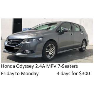 Weekend Car Rental Package MPV Honda Odyssey 2.4A 7seaters Friday-Monday 3days $300