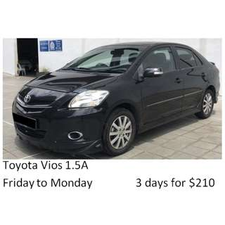 Weekend Car Rental Package Toyota Vios 1.5A Friday-Monday 3days $210