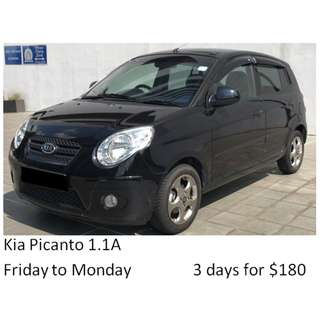 Weekend Car Rental Package Kia Picanto 1.1A Friday-Monday 3days $180