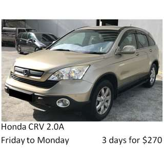 Weekend Car Rental Package Honda CRV 2.0A Friday-Monday 3days $270