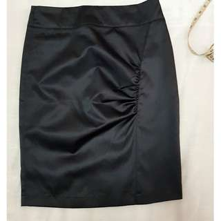 Black Satin Silk Pencil Skirt With Side Pleats (Size: Small)