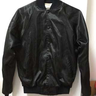 古著 vintage 緞面 黑色棒球外套