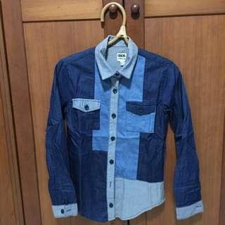 <Sale$15>ASOS Denim Patchwork Shirt