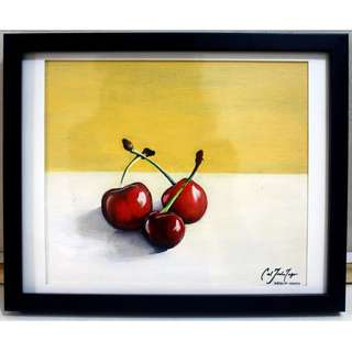 Still Life (Cherries) Acrylic Painting (Framed)