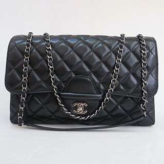 Authentic Chanel Classic Three Tier Large Flap Bag in Black Lambskin with Drak SHW