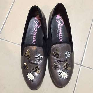Fiorucci Italy glitter shoes with studded details