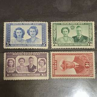 Bechuanaland 1947 Royal Visit stamps set 4v Mint