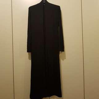 Long Black Stretchable Cotton Cardigan Size L