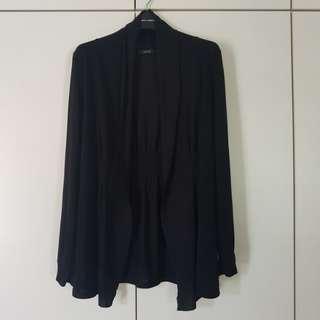 Black Stretchable Cotton Cardigan Size L