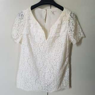 Massimo Dutti White Lace Top Size XL