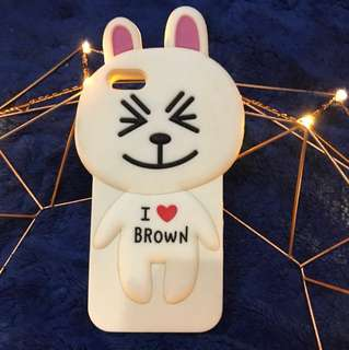 Casing iphone 5/5s line friends cony i love brown
