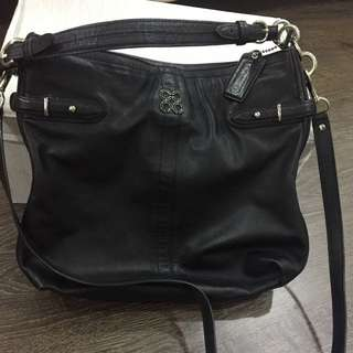 Coach soft leather black sling/ shoulder handbag