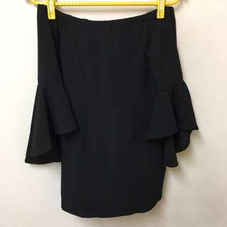 Airspace一字領荷葉袖窄裙洋裝#我的女裝可超取