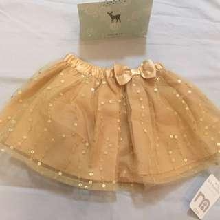 Gold sequins mesh Christmas skirt (0-3months)