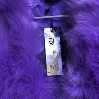 紫色毛毛背心外套