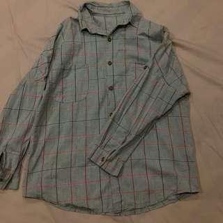 復古 綠色大格紋襯衫 寬鬆 口袋
