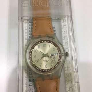 Swatch 手錶 膠帶 淺啡色 男女適用
