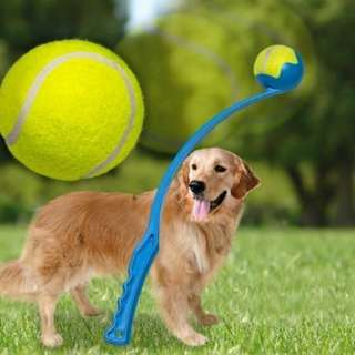 """The Dogs Ball Launcher is 19"""" Inches Long and Comes Complete with a Free Tennis Ball. Available Colors : Blue and Red"""