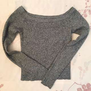 🚚 二手/灰色一字領貼身上衣#我的女裝可超取