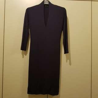 Dark Blue Cotton Bodycon Dress Size L