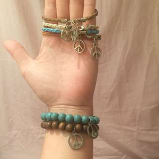 "1 set hippie ""peace"" bracelets"