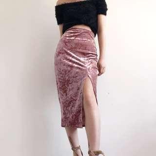 Missguided velvet midi skirt