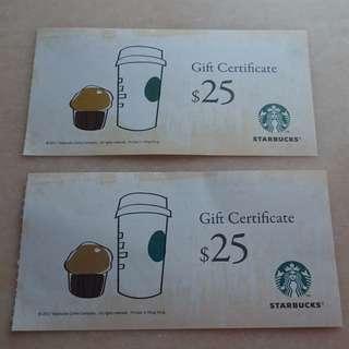 Starbucks $25 Gift Certificate 2張