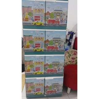 Lemari plastik lemari pakaian lemari serbaguna sesame street full print susun 4