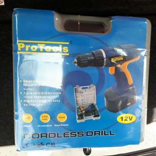 12V cordless drill with drill bits and screwdriver bits