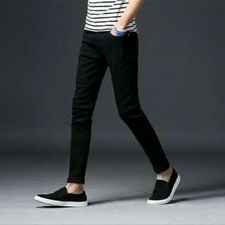 全新✨純黑色 五褲袋 韓版 修身 拼接 彈性 直筒牛仔褲 九分褲