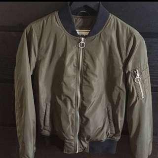 Garage Olive Green Bomber Jacket, Size XS