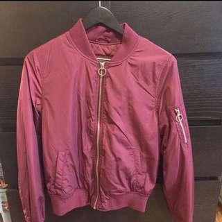 Garage Burgundy Bomber Jacket, Size XS