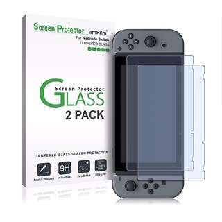 🚚 (2 Piece Pack) amFilm Tempered Glass Screen Protector for Nintendo Switch