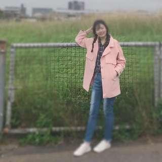 女/粉色/韓版/大衣/西裝外套