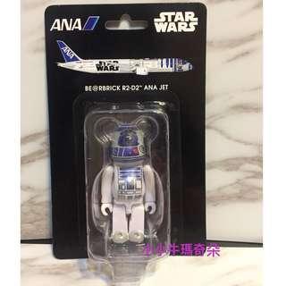 🚚 ~小小牛瑪奇朵~全日空航空ANA星際大戰STARWARS BEARBRICK BE@RBRICK 100% R2-D2