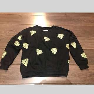 二手真品香港知名潮牌Salad 黑色短版衛衣