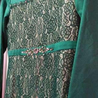 Preloved Girl Green Long Dress/Jubah