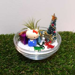 Wooden Hello Kitty Christmas Air Plant