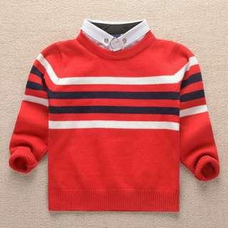 紅色假領針織男童裝