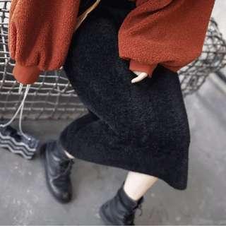 『自留~廠商訂製馬海毛超柔軟大彈性絨毛感直筒窄裙』