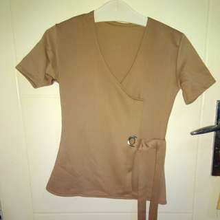 Wrap blouse with knot