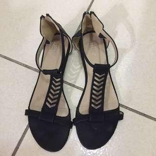 T字黑色涼鞋