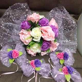 婚禮物資:主花車車花/紅傘/跪墊 大平賣