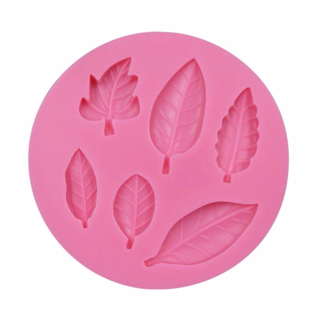3D立體6孔葉子造型翻糖矽膠模具/液態3D矽膠模/DIY巧克力矽膠模/干佩斯造型模/烘焙裝飾模具