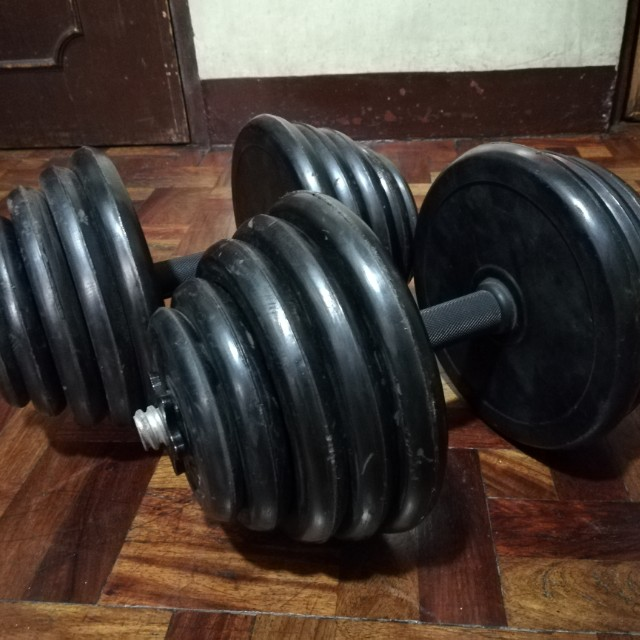 70 lbs (35 lbs x 2) Adjustable Rubber Plated Dumbbells