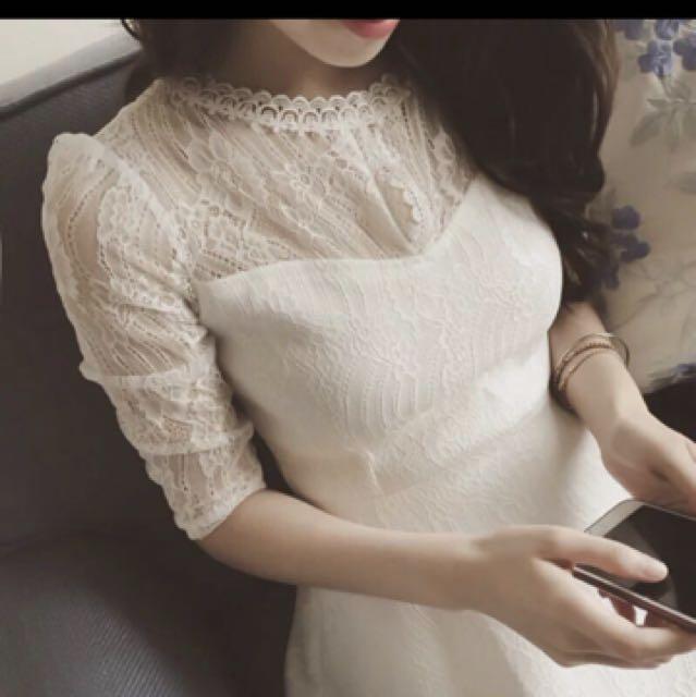 (九成新)-白色蕾絲透膚洋裝